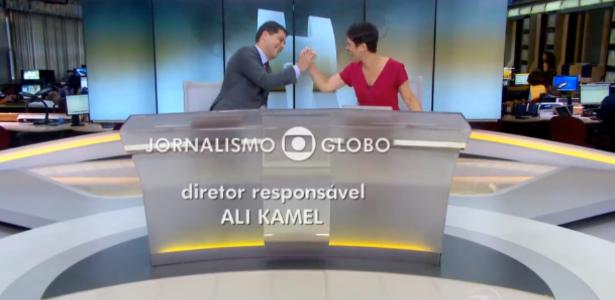 """Sandra Annenberg e Evaristo Costa encerram telejornal com """"high five"""""""