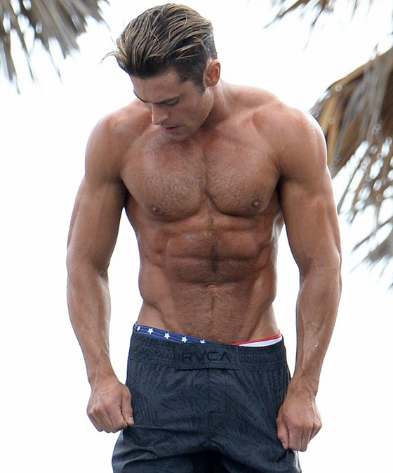 March 8, 2016: Zac Efron shows off his incredible physique as he works out on a obstacle course while filming scenes for the movie Baywatch in Miami Beach, Florida. Mandatory Credit: INFphoto.com Ref: infusmi-13