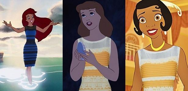 as-princesas-da-disney-ariel-cinderella-e-tiana-usam-o-polemico-vestido-que-muda-de-cor-1425331922440_615x300